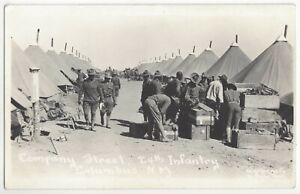1915 Columbus, New Mexico - REAL PHOTO Military Soldiers, Border War Postcard