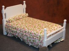Dollhouse Miniature Single Bed White with Pink Bedspread 1:12 inch scale K73