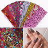 10pcs Leopard Foil Stickers Set Nails Art Animal Nail Foils Paper Tips Decors