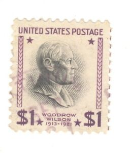 Scott 832 Early US Stamp $1 W. Wilson...1937-38...Light Cancel