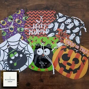 6 x TRICK OR TREAT BAGS HALLOWEEN Gift CELLOPHANE DRAWSTRING GOODY BAGS SMALL