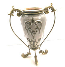 "Stunning Ceramic and Metal Footed Vase with Embossed/Raised Design: 12.5"" Tall"