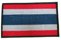 Thailand Thai National Country Flag Embroidered Hook Loop Patch