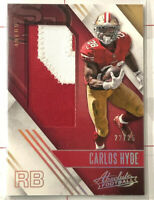 2016 Panini Absolute Carlos Hyde Jumbo Prime Game-Used Jersey SP 22/25 SF 49ers