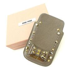 Auth MiuMiu iPhone 4/5 Case studs used Y1010