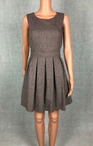 Goldkid London Brown Herringbone Pleated A-Line Day to Night Workwear Dress UK 8
