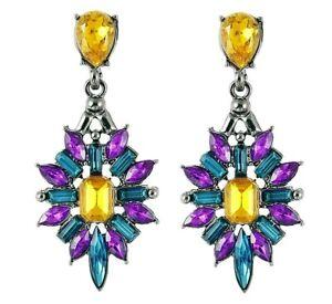 DAZZLING Purple STELLAR Rhinestone JEWEL Star Chandelier Betsey Johnson Earrings