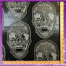 SKULL DESIGN VINYL 54 INCHES WIDE FABRIC SOLD BY THE YARD BLACK
