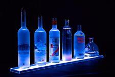 "Armana Acrylic NEW 46 inch Wall Mount Bar Bottle Shelf, 3' 10"" LED Lighted"