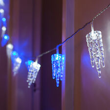 32 Blue & White LED Indoor Multi Function Christmas Icicle Fairy String Lights