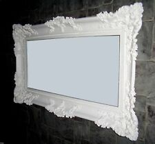 Baroque Antique Wall Mirror with Ornamentation White 96x57cm New