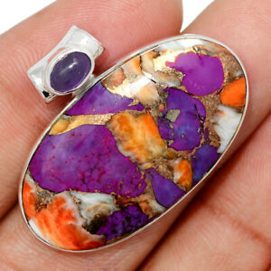 New Oyster Purple Turquoise & Amethyst 925 Silver Pendant Jewelry BP104065