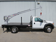 2013 F550 V-10 GAS 11FT FLAT BED BODY VENTURO CRANE BOOM SERVICE WORK TRUCK