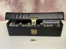 Vintage Cassette Tape Storage Carry Case Black with Key for Up To 16 Tapes