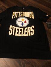 New Nike Pittsburgh Steelers NFL Football Short Sleeve Shirt Size Large Black
