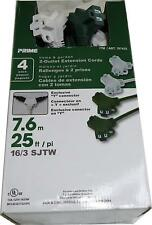 Prime Home & Garden 2-Outlet Extension Cords, 4 Pack, 25ft with Y Connectors