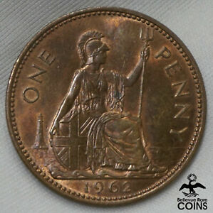 1962 GREAT BRITAIN PENNY BRONZE COIN HIGHER GRADE! NICE DEVICES!