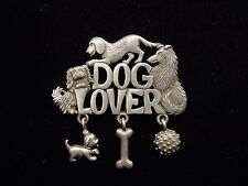 "w/ Charms Pin ~ Collie & Pekingese ""Jj"" Jonette Jewelry Silver Pewter Dog Lover"