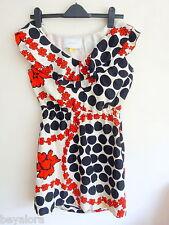 Anthropologie Leifsdottir retro black red polka floral silk dress 8(Valentine!)