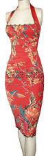 KAREN MILLEN VERY RARE ORANGE RED & FLORAL PRINT LACE CORSET DRESS SZ 14 BNWT