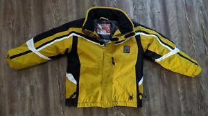 Spyder boys yellow black white hooded winter jacket parka size 7