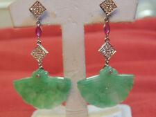 Boucles d'oreilles or 18 carats diamants,jade et rubis