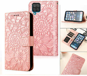 Galaxy A12 Embossed Pu Leather Wallet Case Floral