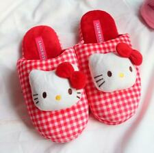 3D Hello Kitty Girl Women Winter Home Stripe Plush Slippers Shoes (US size6-7.5)