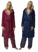 768a647de1 Ladies soft coral fleece hooded wrap over dressing gown robe nightwear 2  colours