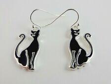 Cat Dangle Earrings Black Silver Hook Fastener Feline Fancier
