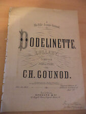 DODELINETTE LULLABY OLD ANTIQUE PIANO SHEET MUSIC SONG VICTORIAN ORIG GOUNOD