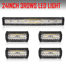 24Inch OSRAM LED Work Light Bar + 4pcs 7inch Pods Spot Flood Combo SUV Offroad
