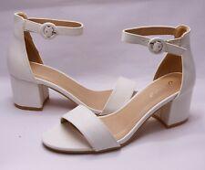 Elegante Zapatos de Novia Danza Sandalias Block Tacón Con Tiras Blanco H 108