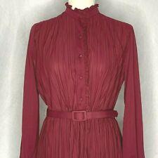 Vintage Accordion Pleated Midi Dress M Maroon Buttons Belt Elastic Waist Ruffles