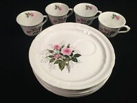 Pontesa Ironstone Chinamoda Rose Floral, 6 Snack Plates & 4 Cups Set, Spain EUC!