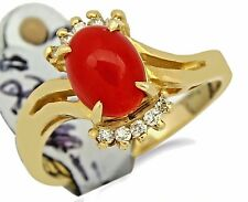 Women's Navajo Coral & Diamond 1.60 ct Gemstone Ring in 14k Solid Yellow Gold