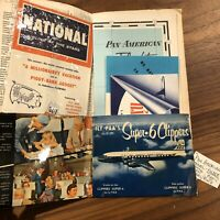 vintage 1950s PAA Pan American Airways Hawaii travel Brochure Ticket Map Clipper