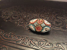 Vintage Flower Micro Mosaic Brooch with Stamped Italy