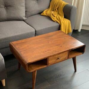 Mid Century Coffee Table Solid Handmade Wood Vintage Side End Nordic Style Legs