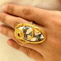 Ottoman semi precious stone rings gold plated  Handmade