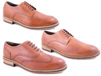 Mens Formal Brogues Shoes Leather Smart Wedding Office Party Dress Shoes Tan