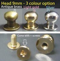 9mm Ball Head Browne monk Rivets/Studs Sam brown button DIY Leather Craft Belt