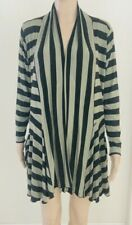 Comfy USA Black & Gray Stripe Open Front Cardigan Size Small