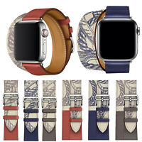 Leather Single Tour/Double Tour Strap Band Bracelet For iWatch Series 5/4/3/2/1