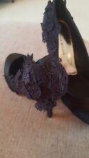 Karen Millen Lourd Dentelle Noir Talon Haut Satin Robe Chaussures UK 6 39 £ 140