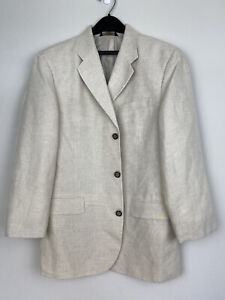 Banana Republic 44 R 65% Linen Blazer Sport Coat Suit Jacket Cream 3 Button EUC