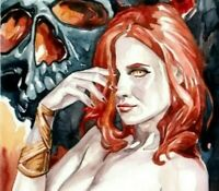 Pinup girl nude Lilith Demon Queen ORIGINAL FANTASY ART WITCH WATERCOLOR drawing