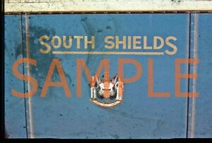 35mm slide South Shields Corporation crest from bus side