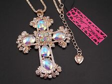 Betsey Johnson fashion crystal cross Pendant Necklace Sweater chain charm EE10