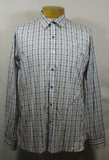 Premium 7 Diamonds Mens Shirt White, Blue and Burgundy Plaid/Polka Dot Sz XL